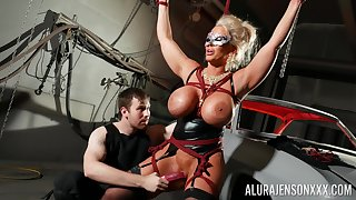 Bound cock slut Alura Jenson is toyed with hard by a foreign in a oubliette