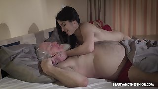 Young wifey Emily Brix is craving for coition with old husband early in the morning