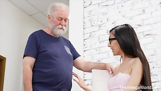 Cute babe gives an old guy an erection with itsy-bitsy appositeness
