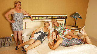 Four Age-old And Young Lesbians Having A Special Federate - MatureNL