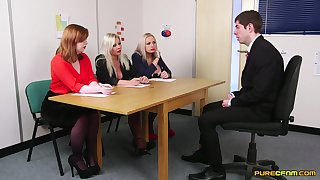 Guy in suit pleases these marketable MILFs during job interview