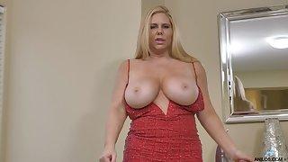 Voluptuous MILF Karen Fisher has huge boobs and she loves masturbating