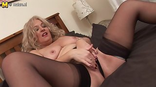 Blonde Adult Slut Getting Wet On Will not hear of Couch - MatureNL