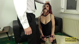 Brutal redhead slut Leanne Morehead gets rough fucked in in all directions from holes