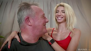 Warm blonde Missy Luv lends her body everywhere an elder man's pleasure