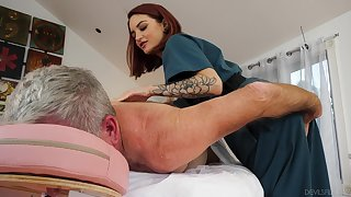 Physical psychoanalyst Lola Fae helps an older man feel invigorated