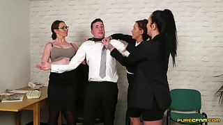 Chantelle Fox and say no to naughty coworkers suck dick of their boss