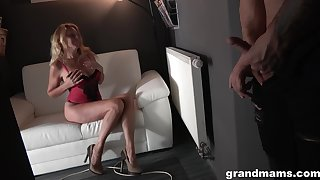 Blonde granny is super interested far getting fucked hard