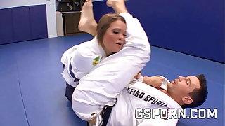 Morose Megan Fenox fucked hard by the karate trainer