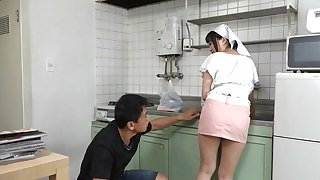 Gaffer Japanese maid gets her pussy licked and fucked from bankrupt