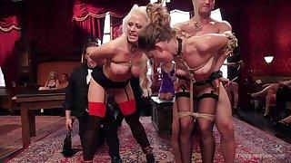 Naked women posing hot and dutiful during insane orgy