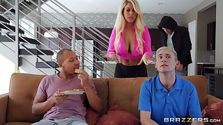 Busty blonde wife Bridgette B fucked away from her tighten one's belt and lover