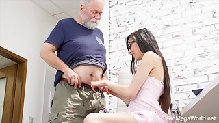 Naughty nerdy girl Ashely Ocean is punished unconnected with older pervert doggy