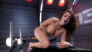 MILF uses the fuck machine almost suit her deep concupiscent needs